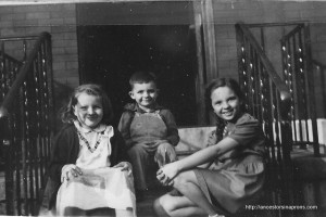 Friend Judy, Brother Bill, Bunny (Vera Marie) at Franklin Avenue house in Columbus