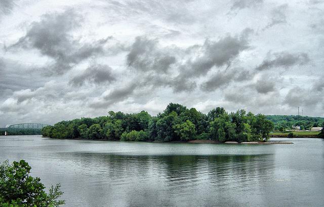 Modern view of Buckley Island in the Ohio River near Marietta, Ohio.