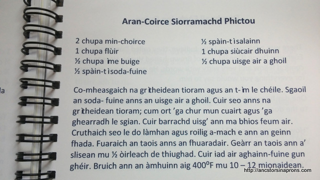 Oatcake recipe in Gaelic.