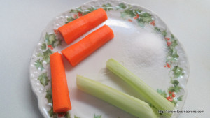Celery and carrots with salt on Grandma Vera's butter plate