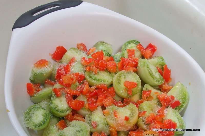 Salted Green Tomatoes for Relish