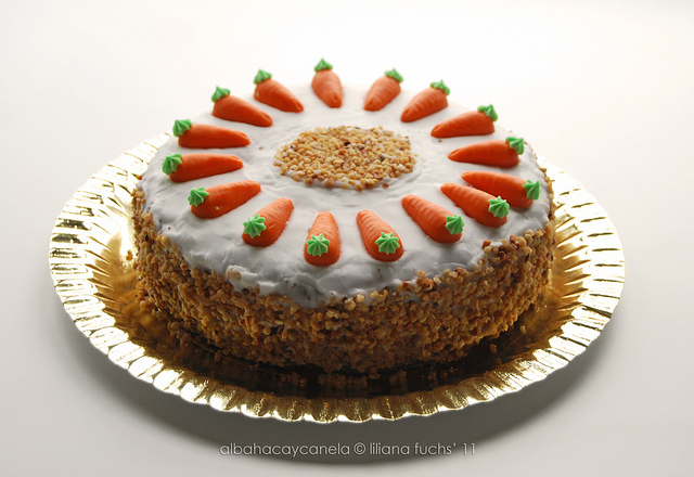 Swiss carrot cake with marzipan