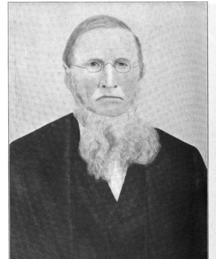 Portrait of Andrew Bines Moore from History of Guernsey County Ohio by Cyrus Parkinson Beatty Sarchet.