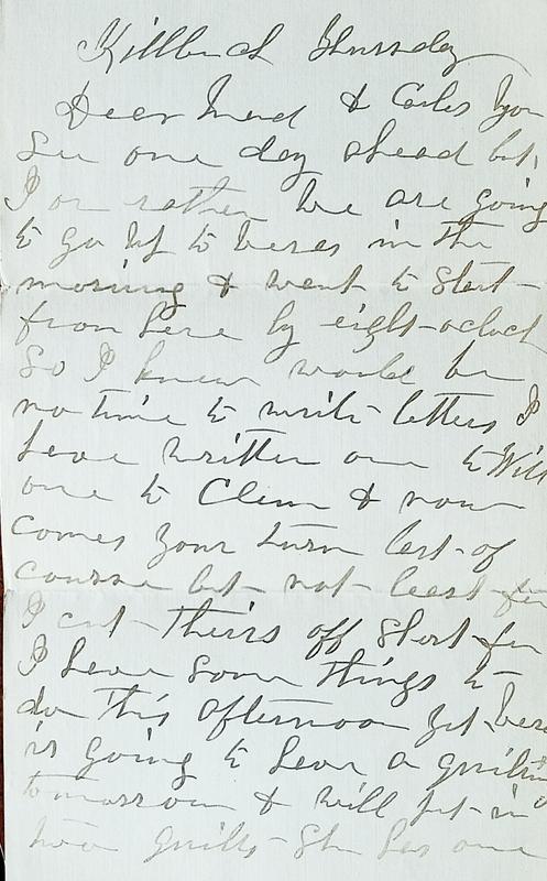 Letter from Hattie Stout 1910