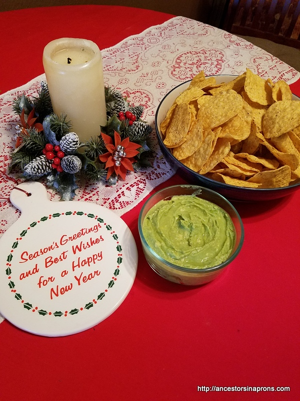 Guacamole served with corn ships