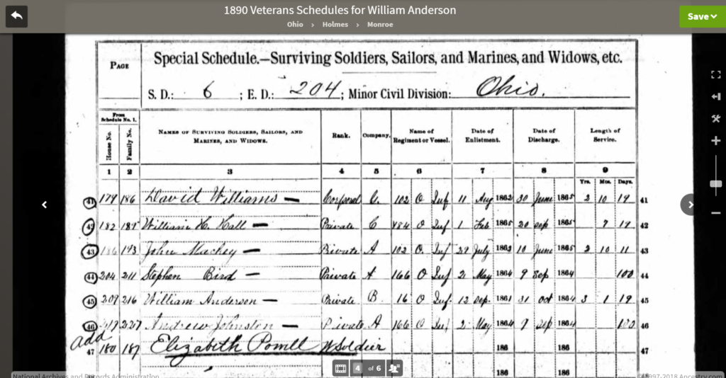 1890 Census Veteran's Schedule.