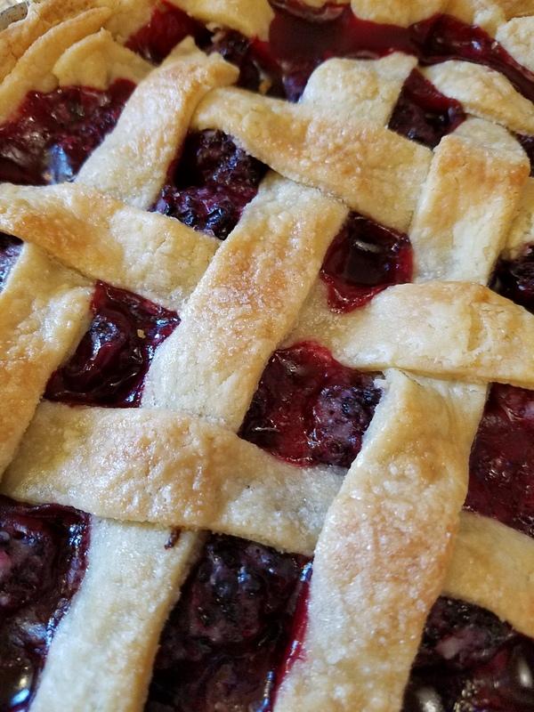 Blackberry pie close up