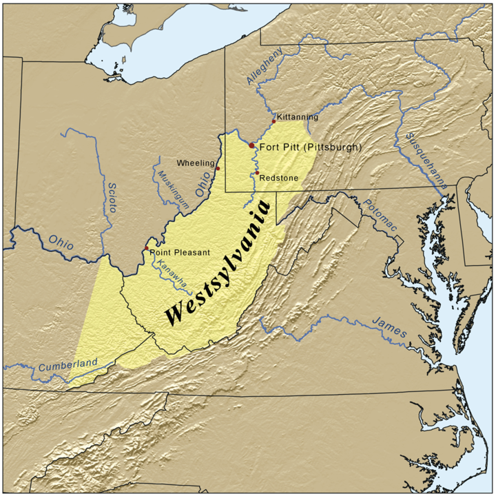Map of proposed state of Westsylvania 1776